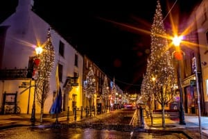 Ballina Town Centre at Christmas, a;long the Wild Atlantic Way