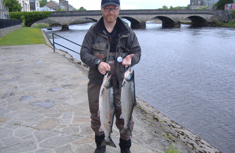 Norwegian visitor, Gerhard Linder, with his two Cathedral Beat salmon
