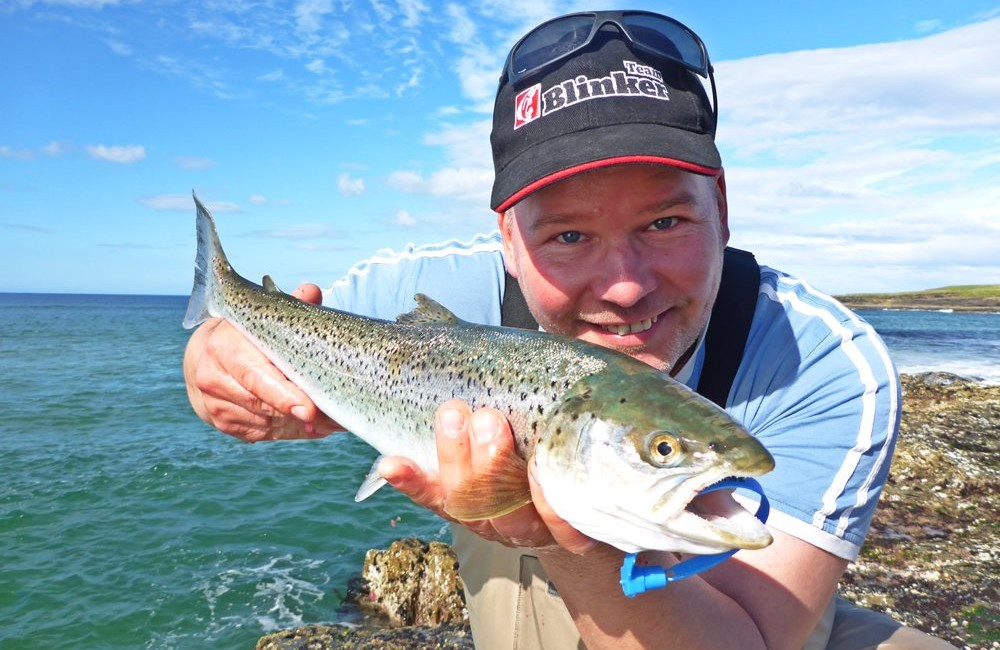 Lars Berding, Germany, with a fine North Mayo sea trout