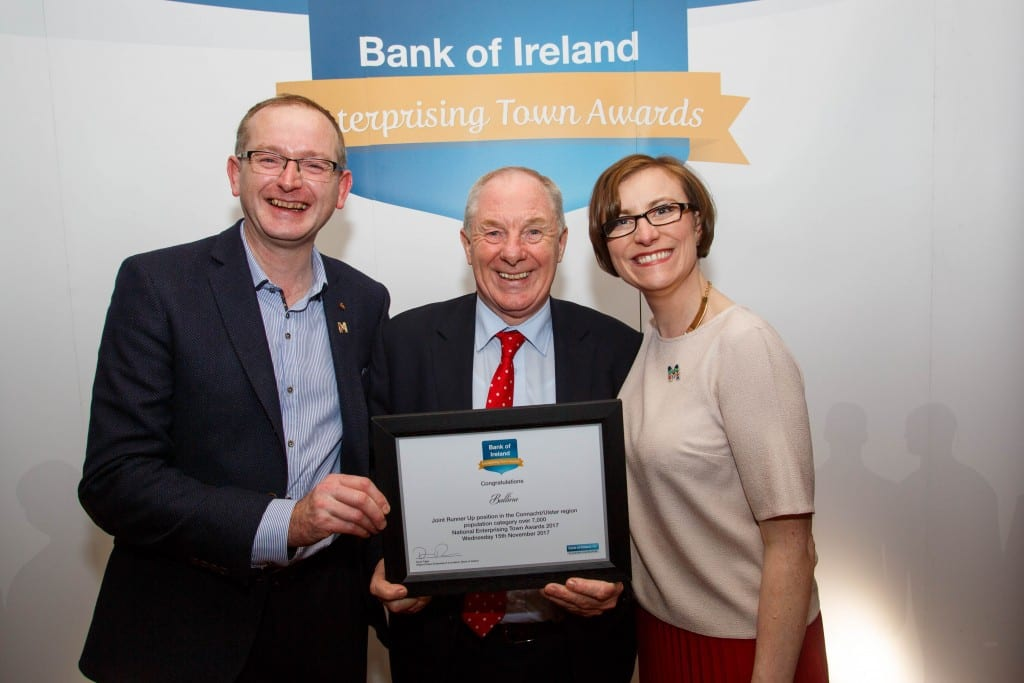 Paul Regan Minister Michael Ring and Mags Downey Martin receiving award for Ballina Co Mayo at National enterprise Awards 2017