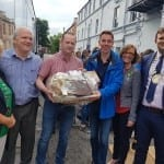 Ryan is presented with a Hamper of Goodies from ballina and North Mayo